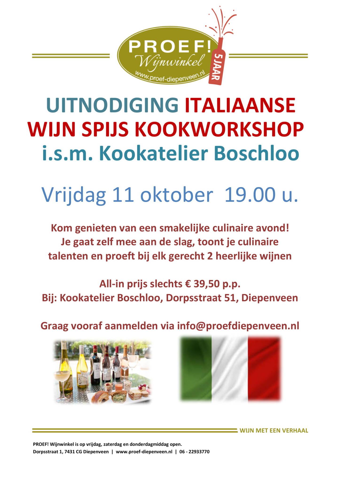 Italliaanse Wijn-spijs Kookworkshop